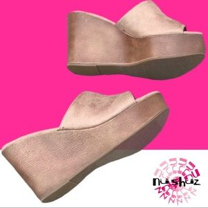 SIZE 10 Last One Beige Suede Platform Wedge Sandal
